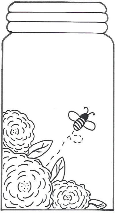 Bumble Bee Flower Mason Jar Template