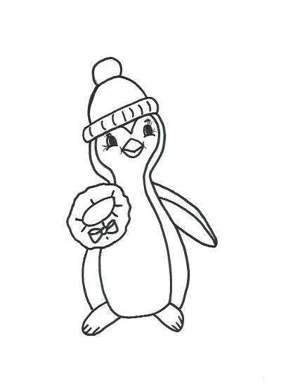Penguin with Wreath Template