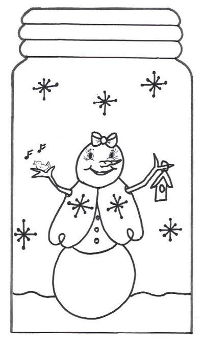 Snowman Mason Jar Template